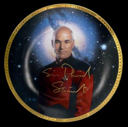 Hamilton Collection, Star Trek The Next Generation plate signed Sir Patrick Stewart