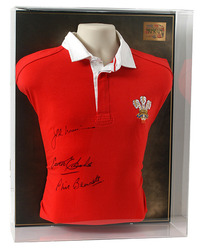 Vintage Wales Rugby Jersey Shirt Signed by 3 Legends