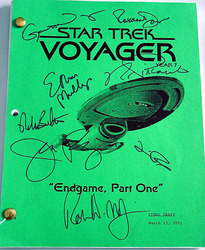 STAR TREK Cast Autographed Signed VOYAGER Final Script PSA