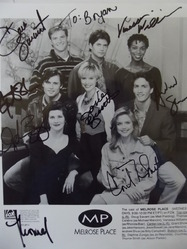 Melrose Place Cast Photo signed by all 8 - authentic autographs