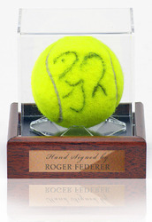 Roger Federer Hand Signed Tennis Ball in display case