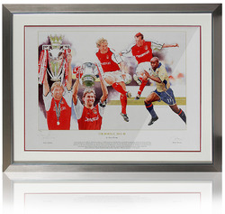 Tony Adams hand signed Arsenal Double Winners framed Art Print.