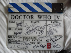 Dr Who original clapper board - signed