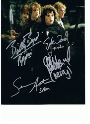 Lord Of The Rings 10x8 Photo Signed by All 4 Hobbits