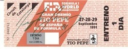 Ayrton Senna Signed 1991 F1 Ticket