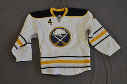 Steve Montador Game Worn Buffalo Sabres Away Jersey 2010-11 Season Set 3 Size 56 Serial #4257