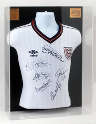 Retro England 1986 Mexico World Cup Shirt hand signed by 6