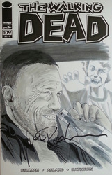 Image, The Walking Dead #109, variant sketch cover, with original art painted on the cover by artist D'Angelo Roman, signed by Michael Rooker and D'Angelo Roman