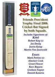 2008 FPT Final Cricket Bat hand signed by both the Essex & Kent teams