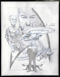 Star Trek the Next Generation & Deep Space Nine original pencil drawing by artist Roderick Thornton, has been signed by Patrick Stewart and Avery Brooks.